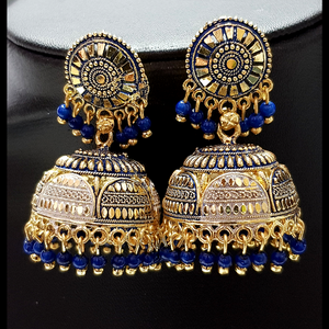 Blue - Golden Jhumka with Blue Beads