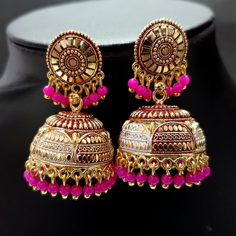 Pink - Golden Jhumka with Pink Beads