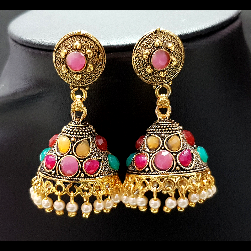 Pink Color - Golden Jhumka with Multicolored Beads