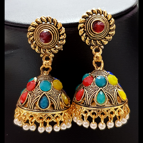 Red-Golden Jhumka with Multicolored Beads