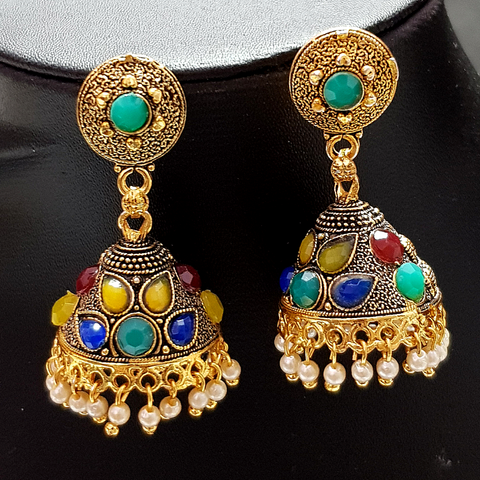 Green-Golden Jhumka with Multicolored Beads