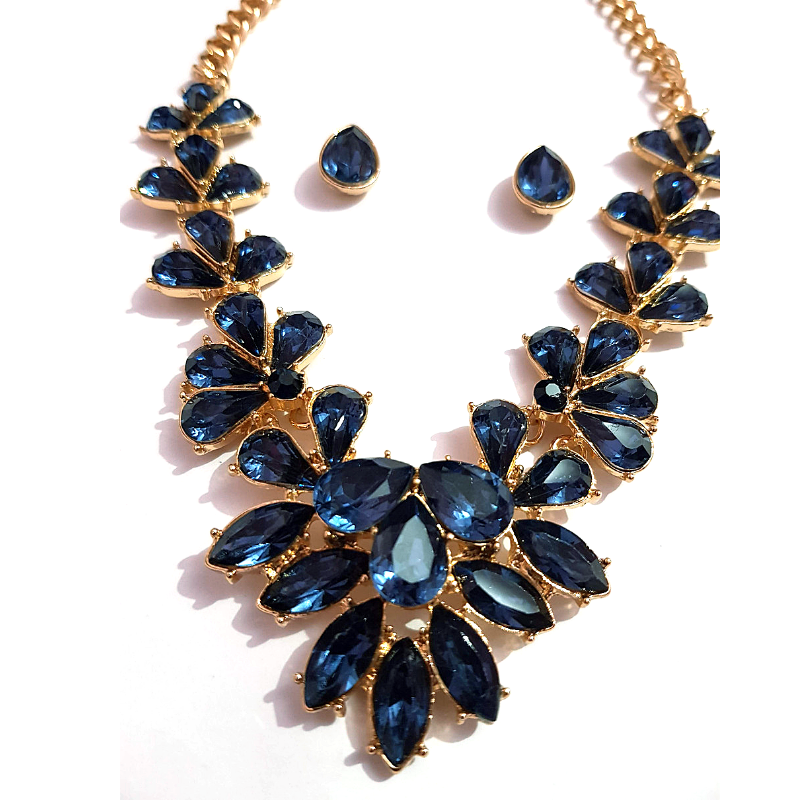 Golden Blue Crystal Stone Necklace Set