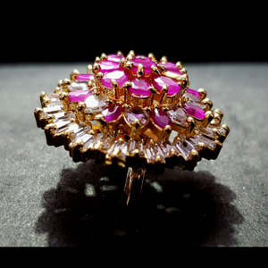 Golden American Diamond Cocktail Ring with Pink Stone