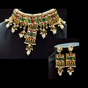 Kundan Look - Necklace Set in Golden - Red