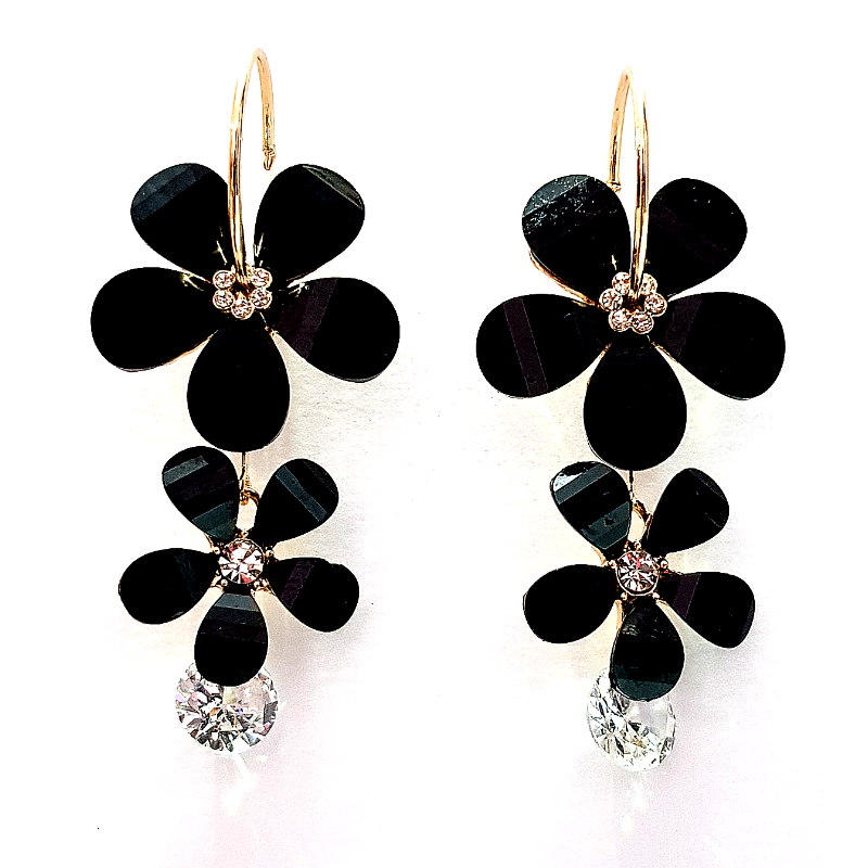 Black Gold Plated- Contemporary Floral Design Earrings