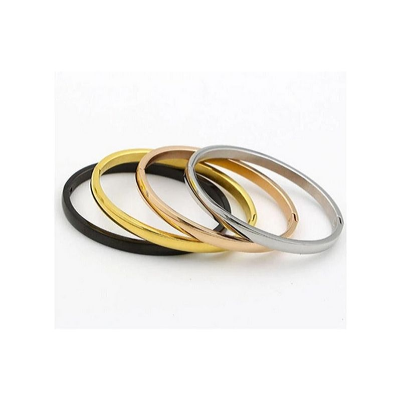 Stainless Steel Smooth Bangle 4 Colors