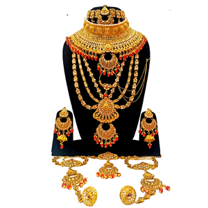 Designer Bridal Jewelry Set in Red Moti and Kundan Work