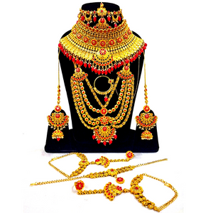 Red Bridal Jewelry Set Designer Bridal Wear Jewelry Set