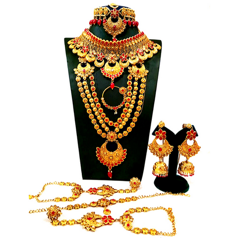 Designer Bridal Wear Jewelry Set in Red Color