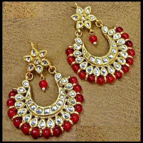 Chand Bali - Flip & Change Design Ear Ring in Golden - Red