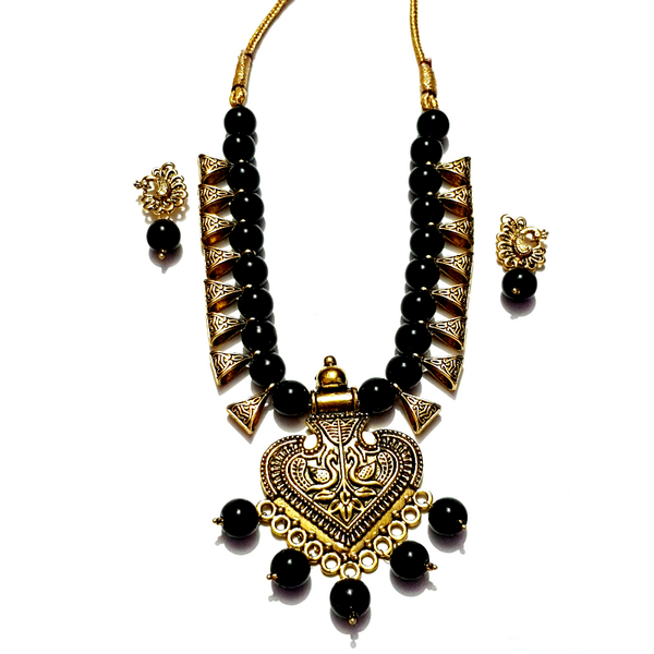 Designer Necklace Set Copper Grey with Black Beads