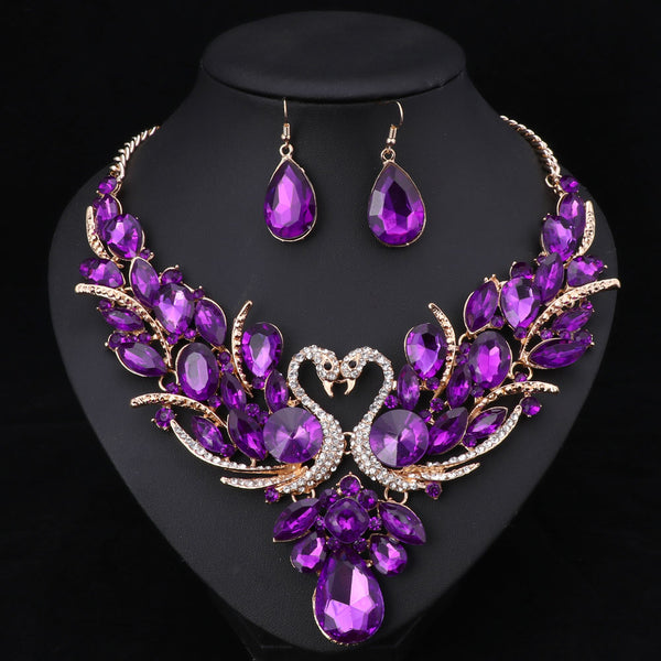 Crystal Bridal Jewelry Sets Swan Pendant Necklace with Earring Set in 10 Colors