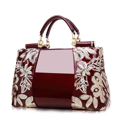 Genuine Leather with Embroidery Work Luxury Handbags for Women 5 Colors