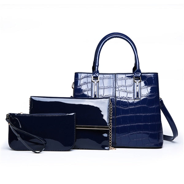 Patterned Leather Women Handbags Set 3 Bags Luxury Bags Tote Bag, Shoulder Messenger Bag and Clutch