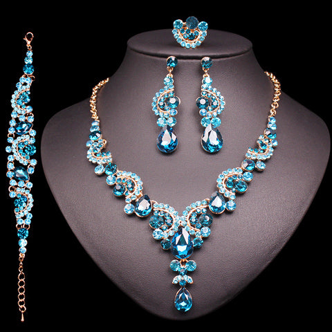 Bridal Necklace Set with Earrings Crystal Wedding Jewelry Set Women's Jewellery