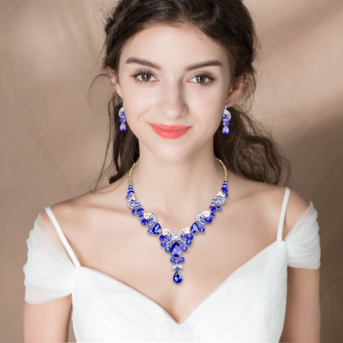 Bridal Necklace Set with Earrings Crystal Wedding Jewelry Sets Gold-Color Women's  Jewellery – style zone