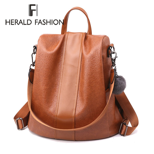 Herald Leather Women Backpack Anti-thief Large Capacity Bag for College Teenager Girls Travel Bags