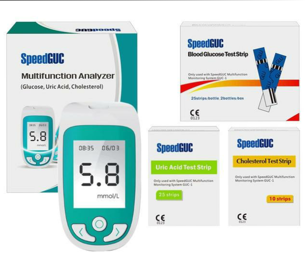 Speedguc 3-in-1 Multi-Function Cholesterol, Uric Acid, Blood Glucose Meter Monitoring System Device with Test Strips