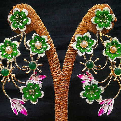 Antique Flower Design Earring Golden Green