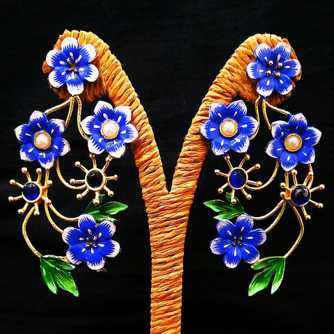 Antique Flower Design Earring Golden Blue