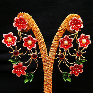 Antique Flower Design Earring Golden Red