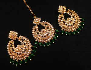 Kundan Embedded Chandbali with Mangtika Set (5 Colors)