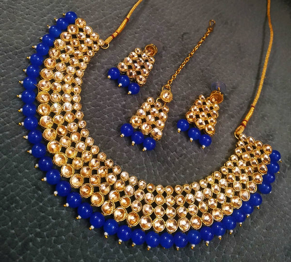 Kundn Work Necklace with Earrings and Mangtika Set