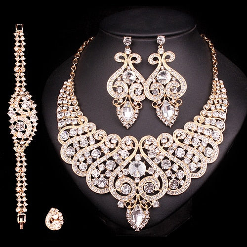 Luxurious Bridal Jewelry Sets Wedding Ring Bracelet Necklace Earring Set 7 Colors