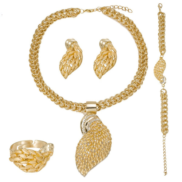 African Beads Golden Wedding Jewelry Sets