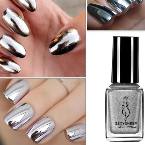 Chrome Nail Polish with Mirror Effect Metallic Color