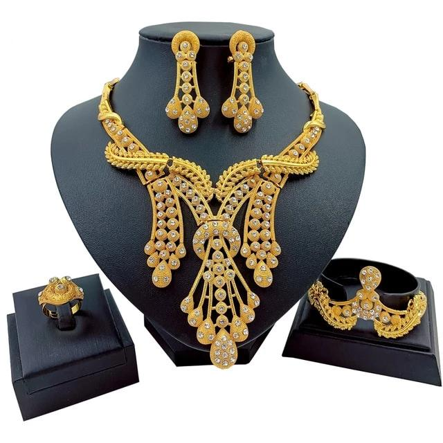 African Design Bridal Jewelry Set Necklace, Earrings, Ring, Bracelet