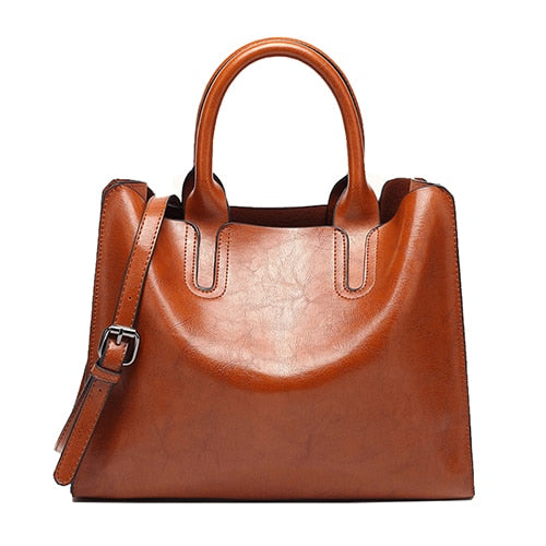 Oil Leather Handbags for Women Large Capacity Casual ladies Bag Shoulder Bag
