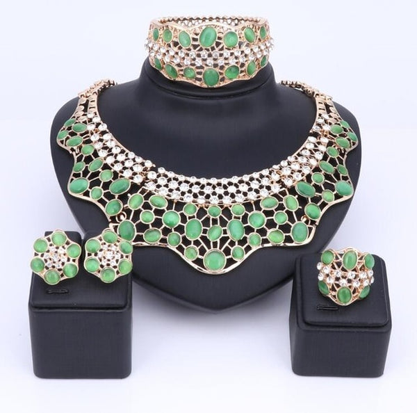 Gold Plated Nigerian Style Water Drop Wedding Jewelry Sets 7 Colors