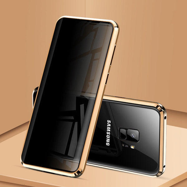 Magnetic Metal Cover with Privacy Tempered Glass Phone Case For Samsung Mobile Phones all Models