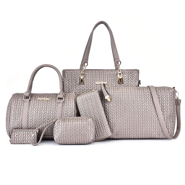 Embossing Pu Leather Women Bags Set 6 Pcs. in 5 Colors
