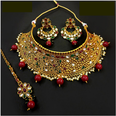 Red Golden Choker Necklace Set
