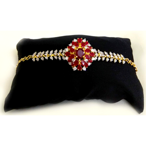 American Diamond stone embedded Golden Red Bracelet