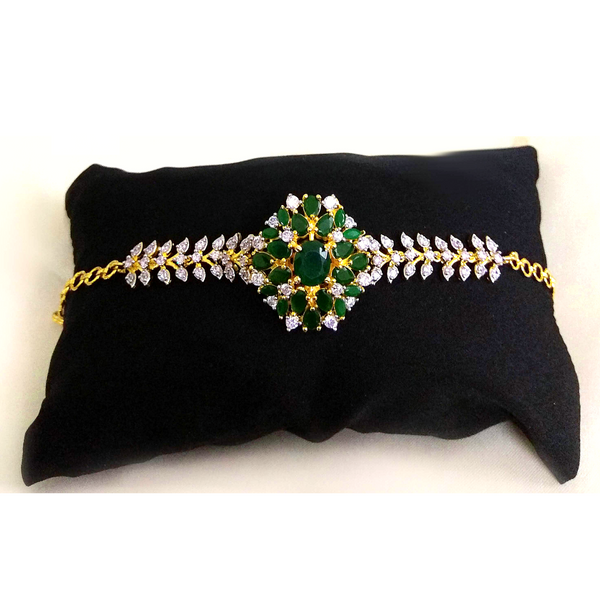 American Diamond stone embedded Golden Green Bracelet