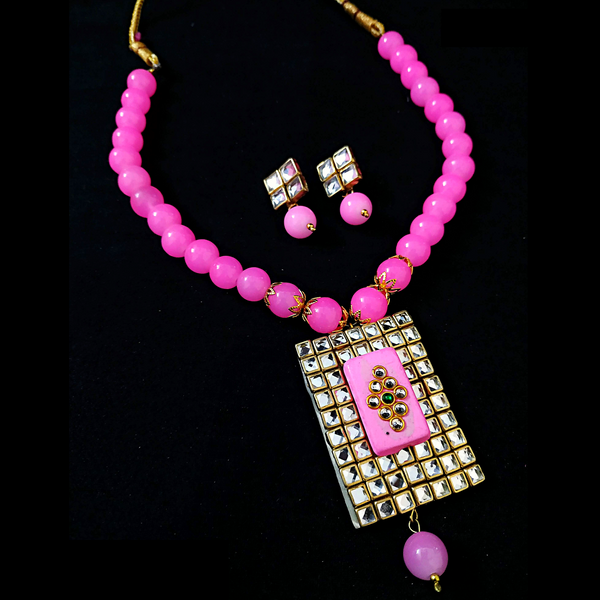 Maroon Red Antique Moti Mala with Kundan Embedded Pendant Necklace Set