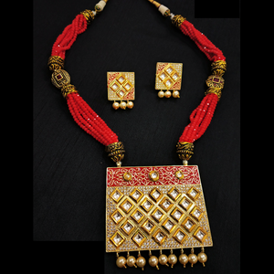 Red Rani Haar With Kundan and Moti Work - Necklace Set in Golden - Red