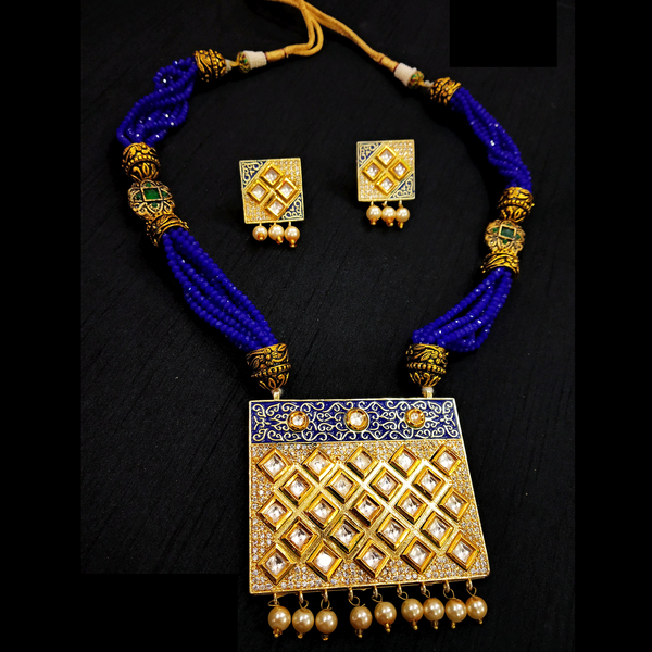 Blue Rani Haar With Kundan and Moti Work Necklace Set Golden - Blue