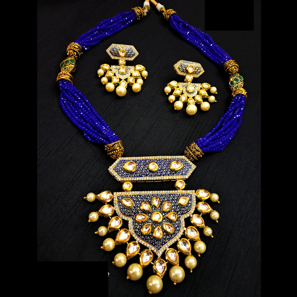 Pink Rani Haar With Kundan and Moti Work Necklace Set Golden - Pink