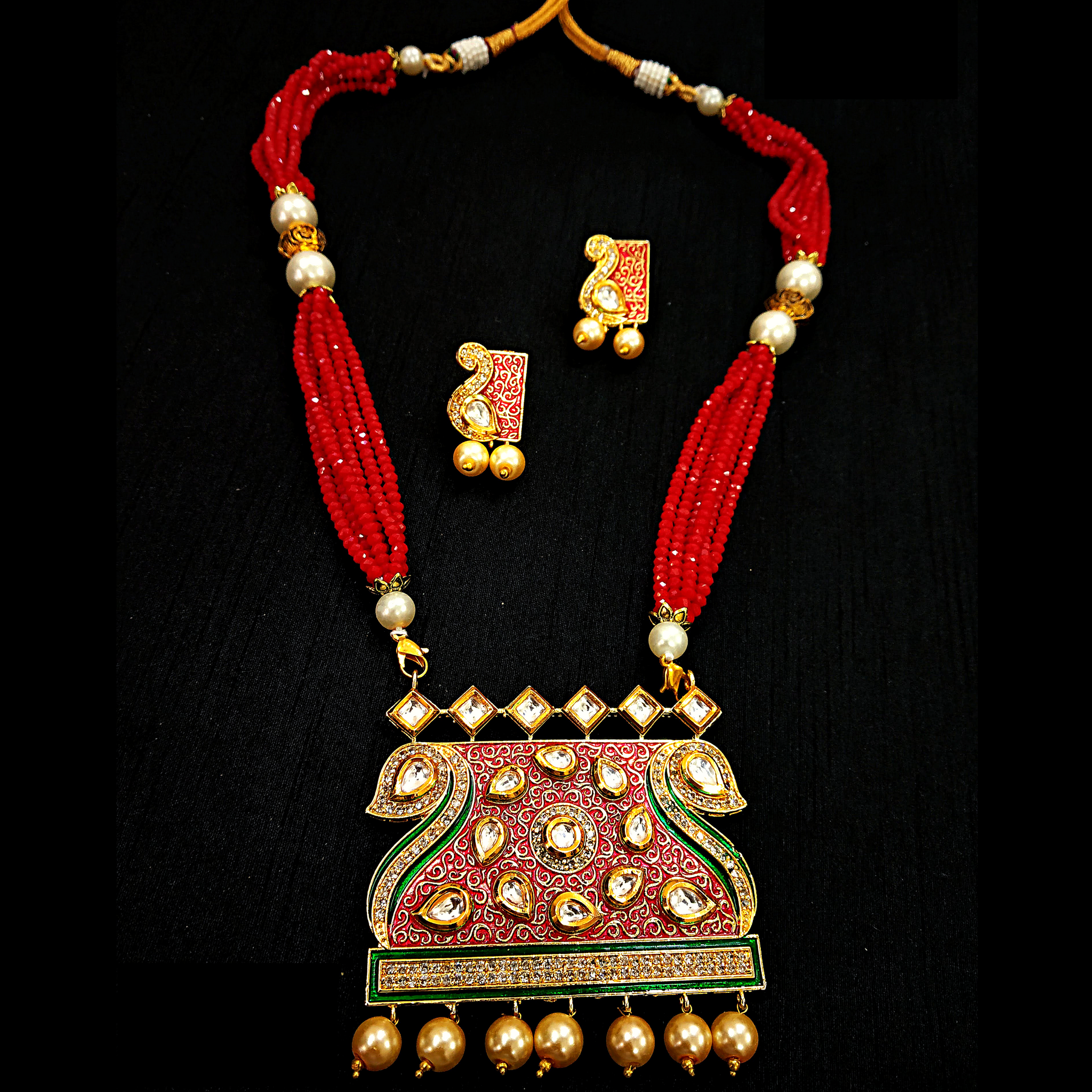 Red Rani Haar With Kundan and Moti Work Necklace Set Golden - Red