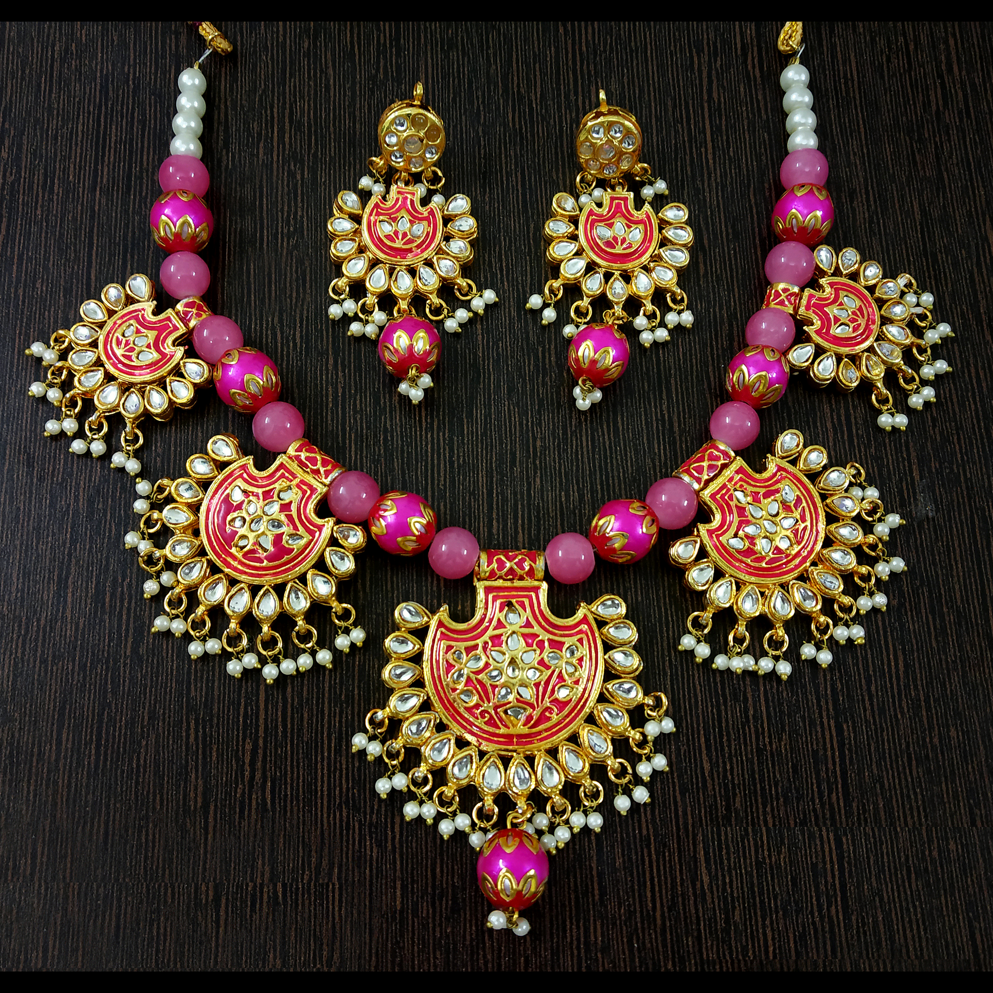Pink Kundan and Moti - Choker Necklace Set in Golden - Pink