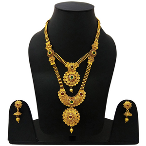 Traditional Gold Design Wedding Bridal Necklace Set with Mangtika 081
