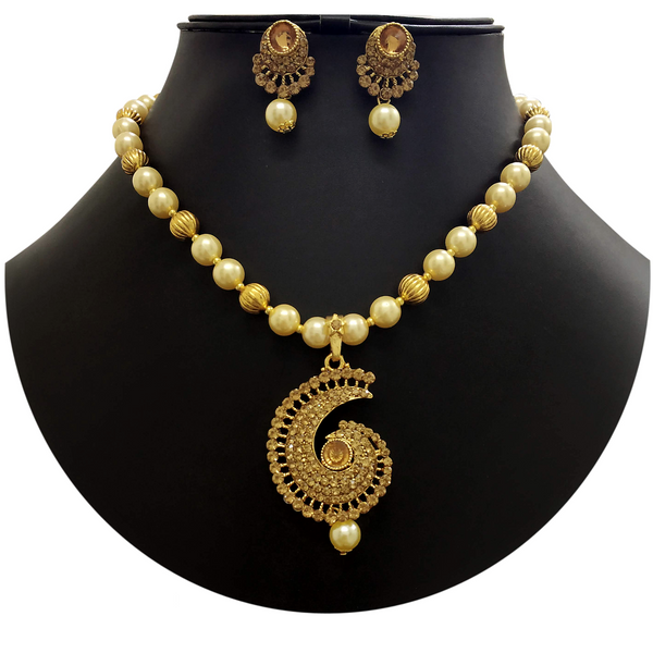 Necklace Set Golden Moti Mala with Golden Pendent -09A