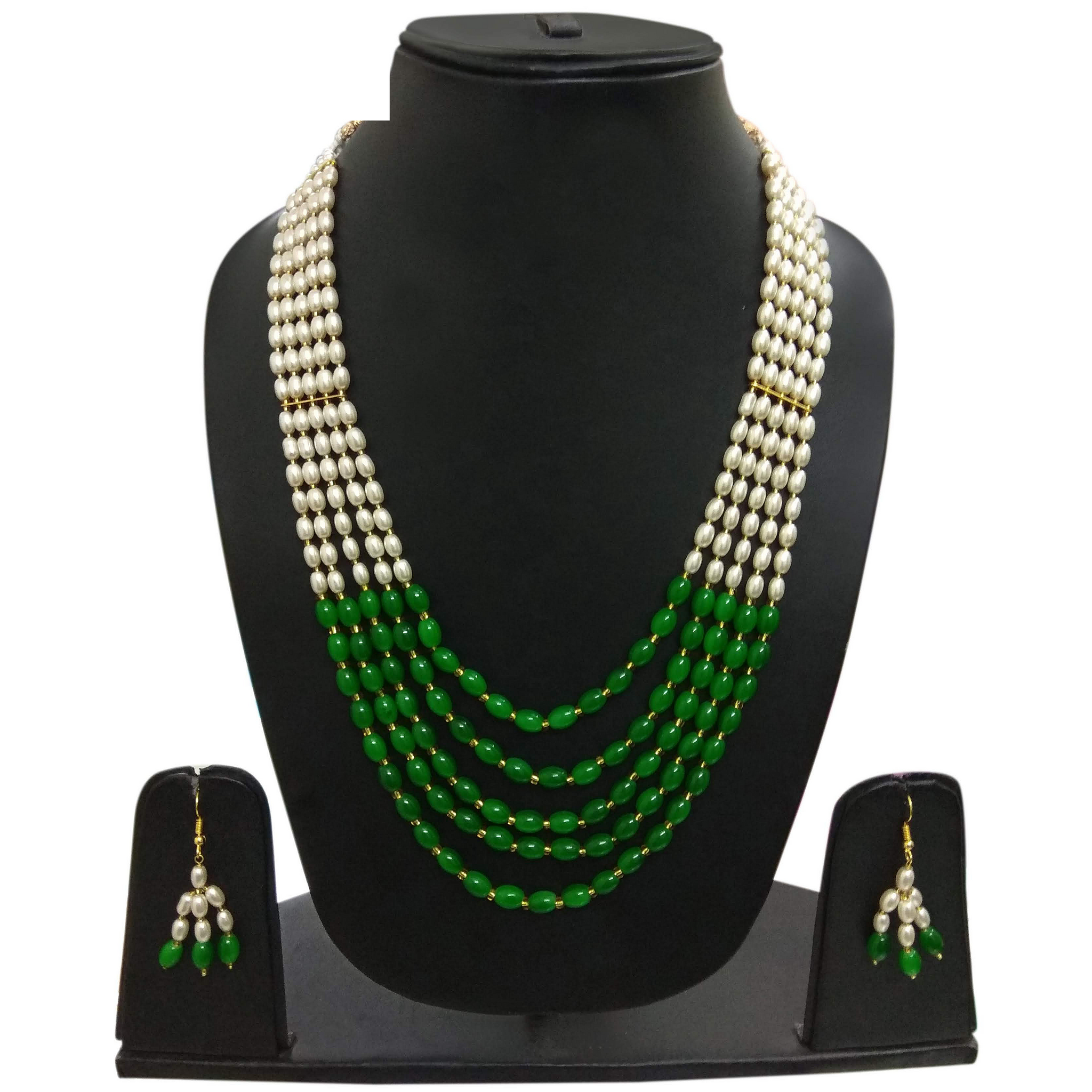 Handmade Designer Necklace Set of Moti Stone Heavy Look Green