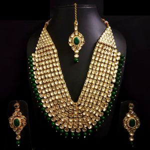 Kundan Look - Long Necklace Set in Golden Green