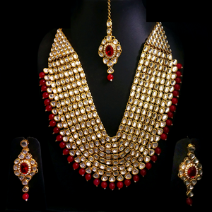 Kundan Look - Long Necklace Set in Golden - Red