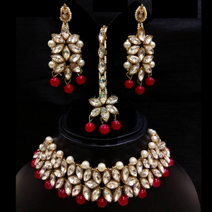Red Choker Necklace Set in Kundan and Moti Work - White Red